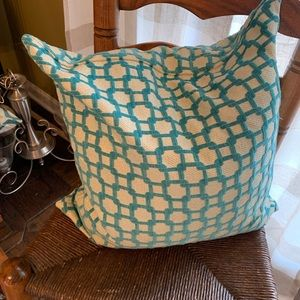 Down throw pillow turquoise and silver
